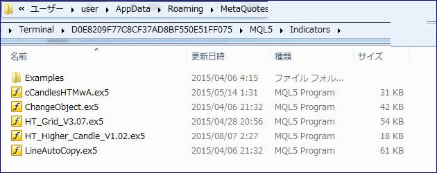 MT5・インジケータ追加